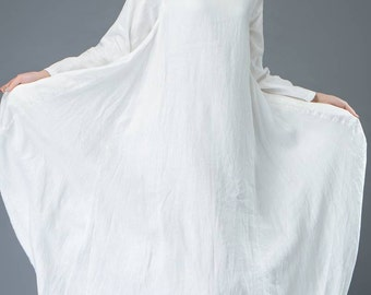 White dress, linen dress, everyday dresses, maxi dress, casual dress, loose dress, long sleeves dress, women dress, long dress C821
