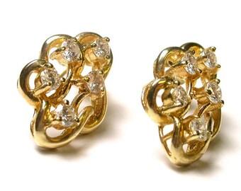 Diamond Earrings - 14k Yellow Gold - Diamonds H Color - Post Back - Pierced - Multiple Diamonds - Weight 4.5 Grams