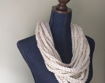 Winter White Scarf Necklace . Mid Length . White Chain Scarf . Infinity Scarf . Indie Clothing . Cute Scarf . Crochet Scarf . Braided Scarf