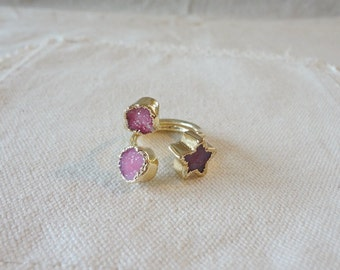 Natural Druzy Agate Three-Ring, Round & Star shape Gold plated Quartz Agate Drusy Gem Stone Finger Rings, Jewelry Ring