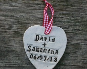 Personalised Wedding Ceramic Hanging Heart