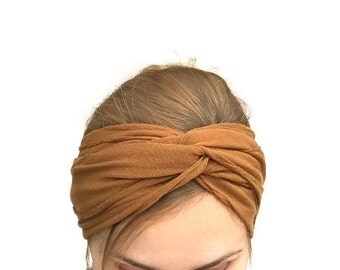 Turban headband ginger twist headwrap , stretch jersey turband , fashion hair accessory  gift for women under 20 , rust color adult headband