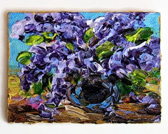 Mini Painting ACEO Purple Lilac Flower Art Original Tiny Painting Floral Painting SFA Palette Knife Textured Impasto