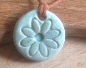 Essential Oil Pendant Diffuser Pendant Robin's Egg Green Flower Aromatherapy Jewellery Handmade in UK - buy 2 get 1 free
