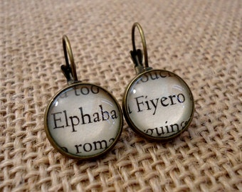 Elphaba and Fiyero Book Page Earrings - Wicked