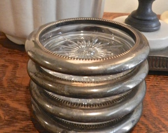 Silver Plated Glass Coasters. Cottage Home Decor.