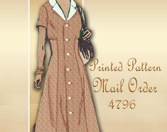 Mail Order 4796 1960s Dress Pattern Mid Century Styling with Princess Seams Notched Collar Full Length Buttons Bust 39