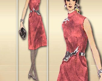 1970s Vogue Dress Pattern Couturier Sleeveness Designer Fashion by Valentino Two Lengths Stand Up Collar Curved Pockets A line Skirt 2439