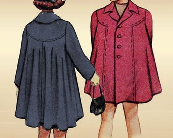 McCall 7547 Vintage 1940s Sewing Pattern Girls Size 6 Swing Back Coat Two Collar Options