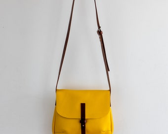 Leather overbody bag bright 'Yellow Ripley' handmade with adjustable chestnut brown strap and Sam Brown stud fastening crossbody Alice bag