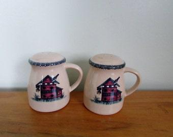 Salt and Pepper Shakers, Cute Primitive Bird House on Front, Large Size, Blue Sponge Decor ~ BreezyJunction.etsy.com