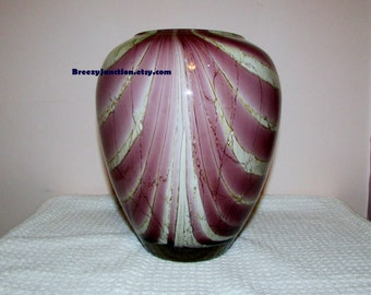 Art Glass Vase, Purple Amethyst Swirl & White Vase, Heavy Sturdy Unique Glass Vase, Home Decor, Collector Glass - BreezyJunction.etsy.com