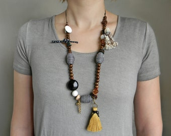 Long Boho beaded necklace with Wood beads and Mustard yellow tassel Extra long bold necklace Large-Big bead necklace Mixed media necklace