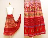 Vintage Indian Gauze Bohemian Skirt / Sheer Ethnic Print Festival Skirt / Drawstring Waist