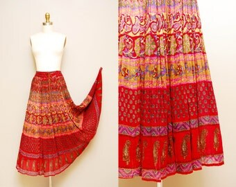 Vintage Indian Gauze Bohemian Skirt / Sheer Ethnic Print Festival Skirt / Drawstring Waist