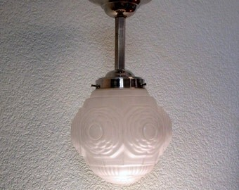 French Art Deco Light Fixture 1930s White Sculpted Floral Design with Satin Glass - Great Art Deco Lighting for Smaller Spaces