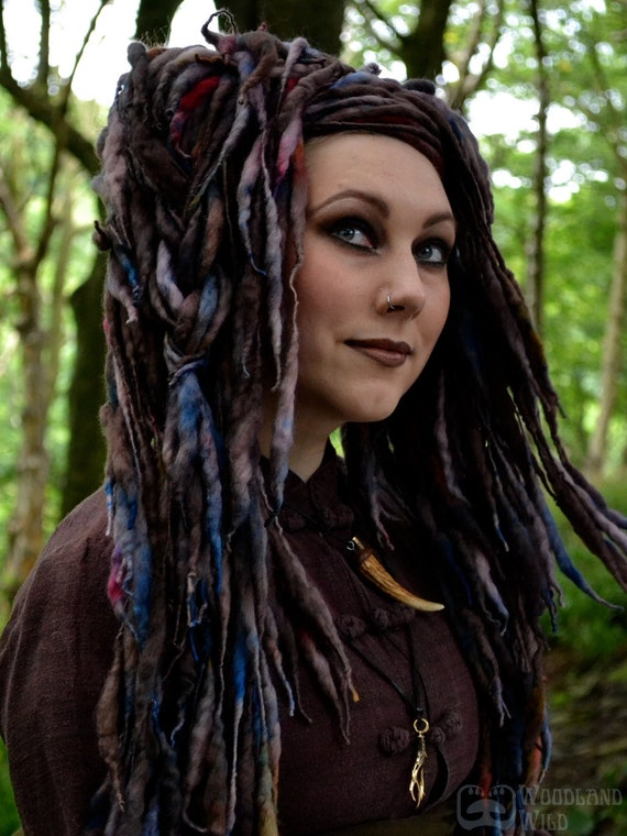 Woodwose ELFLOCKS Dreadlocks Dread Falls in Brown/Blue/Red/Yellow for Cosplay, LARP, Tribal Belly Dance, Festivals, Alt Fashion, Performance