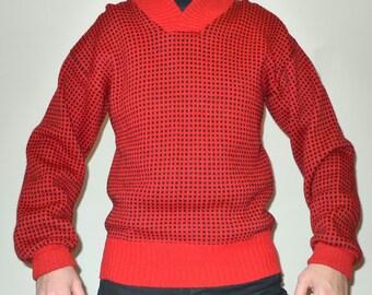 Mens Vintage Nordic Fisherman Chunky Knit Winter Sweater by Petersen & Dekke sz L, Red