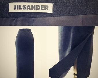 Vintage Jil Sander Wool Skirt - 90s High Waist Dark Grey Maxi Skirt - Clearance Sale