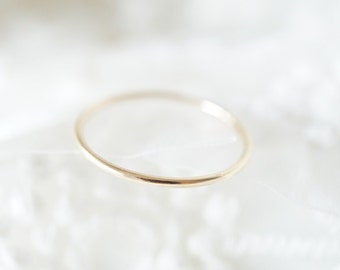10K Solid Yellow Gold Thin Smooth Ring- Stackable Ring- FREE Shipping- made to order- 3 weeks- modern minimalist jewelry