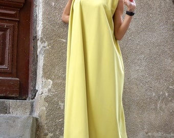 NEW  Maxi Dress /Yellow Mustard Kaftan /Extravagant Long  Dress / Party Dress / Daywear Dress with side pockets by AAKASHA A03370