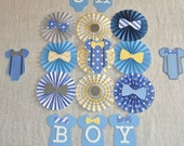 Baby Shower Decor, Baby Shower Backdrop, Nursery Decor, Onesie Themed Baby Shower, Blue Yellow Gray Paper Fans, It's a Boy, Gender Reveal