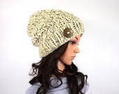 ON SALE Chunky Knit Slouchy Hat Beanie Toque with One Natural Coconut Shell Button // The Laurel // in Oatmeal