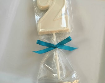 12 Chocolate Number 2 Lollipop Favors Two Year Old Birthday Candy #2