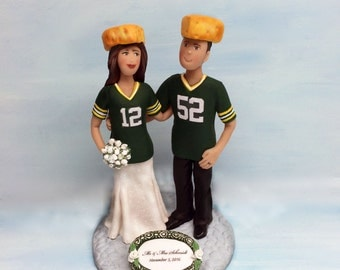 Football Fan Wedding Couples Cake Topper