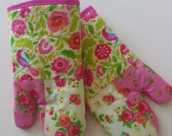 Mother's Day Gift Pink Roses Oven Mitt Set, Kitchen Accessory, Decor, Chef