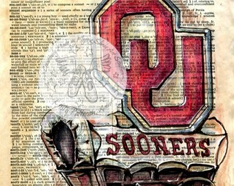 PRINT:  University of Oklahoma Logo Drawing on Antique Dictionary