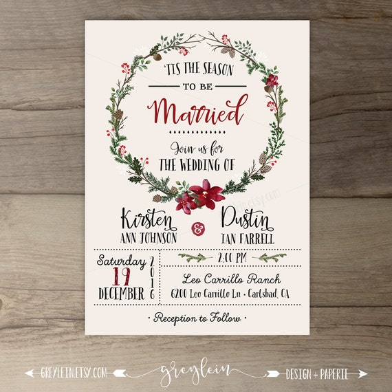 Winter Wedding Invitations Wreath 'Tis the Season to