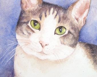 Custom Cat Portrait - Pet Loss Gifts - Cat Watercolor Painting - Pet Portrait Sympathy Gift