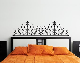 Wrought Iron Headboard Vinyl Wall Decal Design - fits above beds, couches and/or on any smooth non-porous surface U004