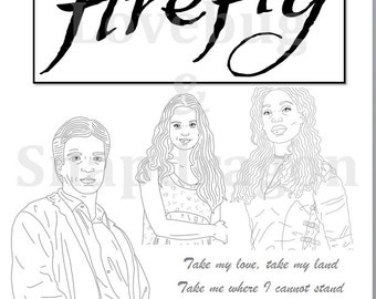 Firefly & Serenity Coloring Book // Instant Printable Digital File, Travel Activity, Rainy Day Activity, Art Therapy, Coloring Page