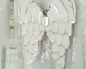 Angel wings, wooden angel wings, hanging ornament, rustic wings, wood angel wings, white wings, white angel wings, nursery decor, silver