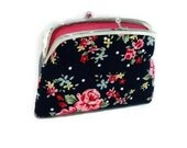 Navy blue ditsy rose coin purse-double section shabby chic fabric wallet - cath kidston & Pink 2 compartments