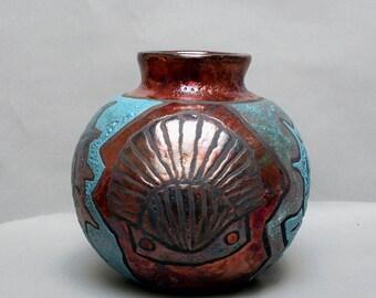 "Raku Pottery Vase Seashell Home Decor Raku Ceramics Art and Collectibles Gold Copper Raku Starfish Nautilus Pot Vase 7x8x8"" inches"