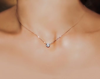 14k Gold Solitaire Diamond necklace, .30 carat