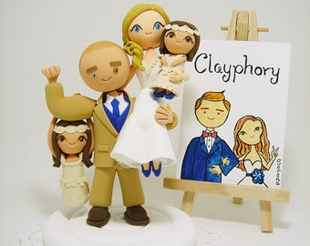 Lovely family - couple with 2 daughters custom wedding cake topper