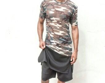 Camo Print Mesh Shirt