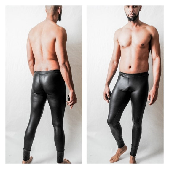 Fitness Megging/Legging Stretch Latex Jersey Coated Jersey Leather like look