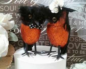 WEDDING 2016  wedding cake romantic black and orange owls wedding  cake topper