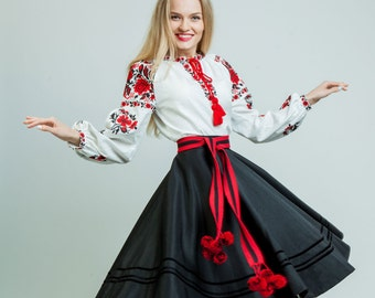 Embroidered skirt ukrainian skirt black midi skirt black skirt in boho fall midi skirt pleated skirt boho skirt women flared skirt