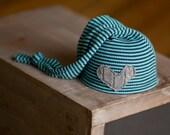 Upcycled Newborn Hat, Newborn Hats, Newborn Boy Hat, Sleepy Time Hat Teal Blue Striped Knit Stocking Cap Gray Heart Photo Prop READY TO SHIP