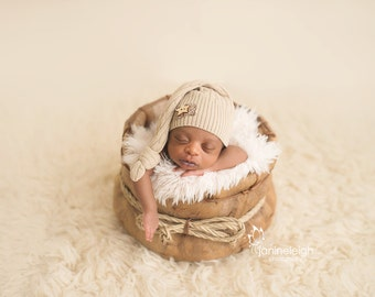 Upcycled Newborn Hat Tan Cable Knit Sleepy Time Elf Hat with Patch Wood Star Button READY TO SHIP Newborn Photography Prop, Neutral Newborn