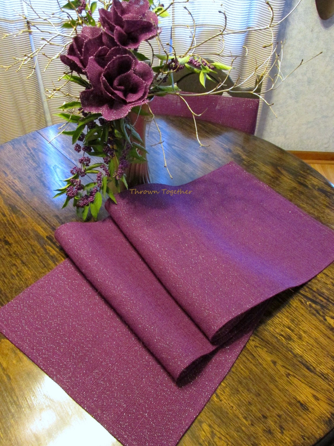 Plum Burlap Table Runner Plum Purple Burlap Table Runner With