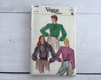 80's Vogue 8090 Pattern Misses' Secretary Blouse Size 12 Bust 34 Factory Folded