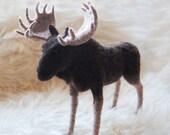 Moose, Needle Felted Moose, Handmade Animal, Felted Bull Moose - made to order