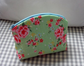 Green Floral Cotton Make Up Bag with polka dot lining